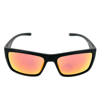 Matte Black frame Red Mirror lens