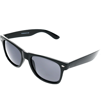 Shiny Black Single Stud Frame, Smoke Lens Angled