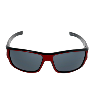 Shiny Metallic Red-Black Frame Smoke Lens