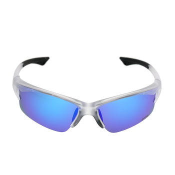 Matte Crystal Clear frame Blue Mirror lens