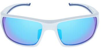 Shiny White frame, Ice Blue Multi-Mirror Hydrophobic Polarized lens