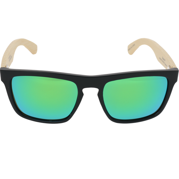 Matte Black Frame Natural Bamboo Temple  Green Multi Mirror Lens