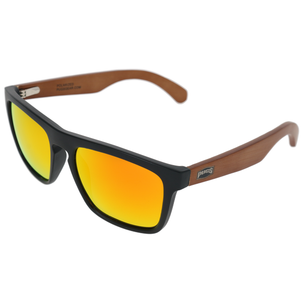 Matte Black Frame Dark Brown Bamboo Temple Red Multi Mirror Lens