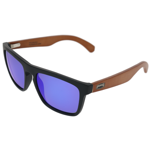 Matte Black Frame Dark Brown Bamboo Temple Blue Multi Mirror Lens