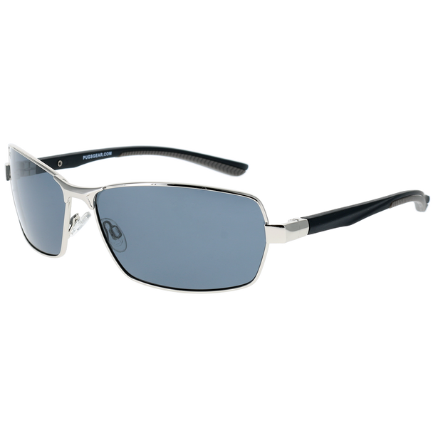 Shiny Silver Frame Matte Black-Grey Rubber Tips Smoke Lens