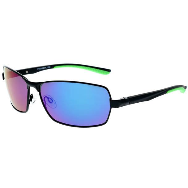 Matte Gunmetal Frame Matte Black-Lime Green Rubber Tips Green Multi Mirror Lens