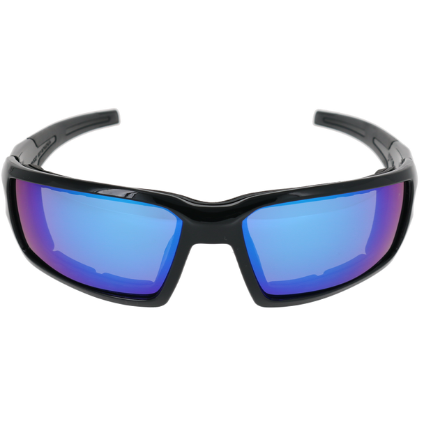 Shiny Black Frame Shiny Black-Black Rubber Tips Blue Multi Mirror Lens