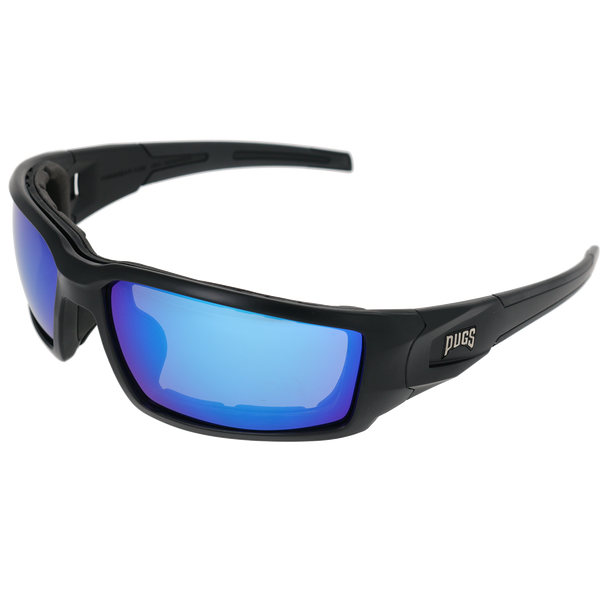 Matte Black Frame Matte Black-Black Rubber Tips Blue Multi Mirror Lens