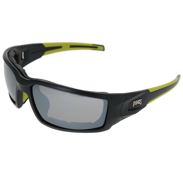 Matte Black Frame Matte Black-Lime Green Rubber Tips Smoke Flash Mirror Lens