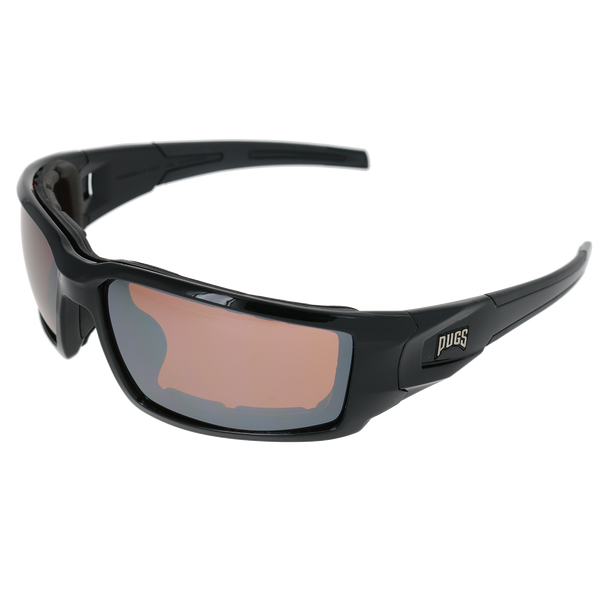 Shiny Black Frame Shiny Black-Black Rubber Tips Amber Flash Mirror Lens
