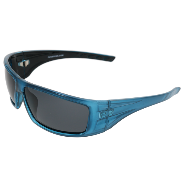 Shiny Crystal Blue with Black Back spray Frame Smoke Lens