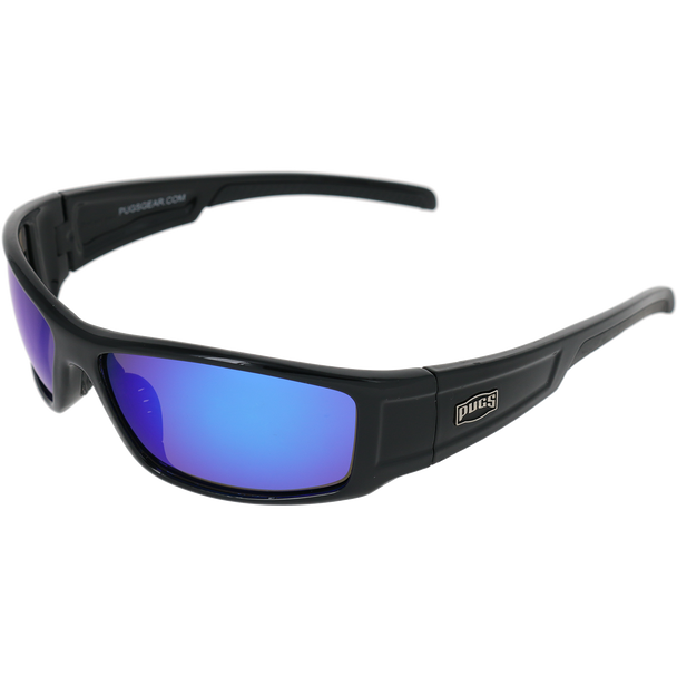 Shiny Black Frame Black Rubber Tips Blue Multi-Mirror Lens