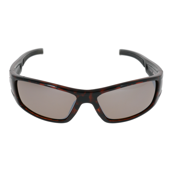 Shiny Brown Demi Frame Black Rubber Tips Brown Lens