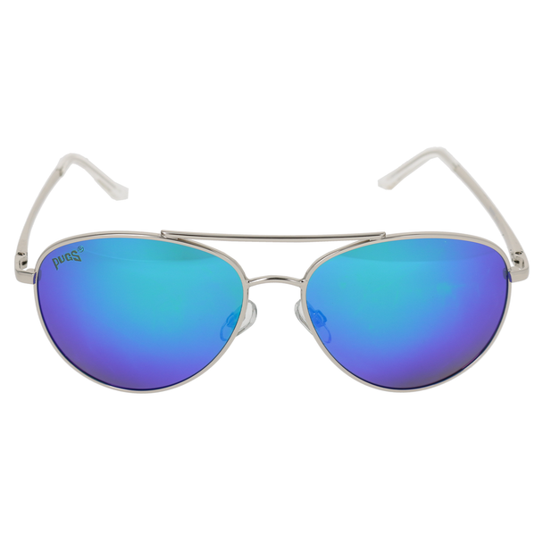 Shiny Silver Frame Crystal Clear Tips Green Multi-Mirror Lens