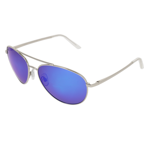 Shiny Silver Frame Crystal Clear Tips Blue Multi-Mirror Lens