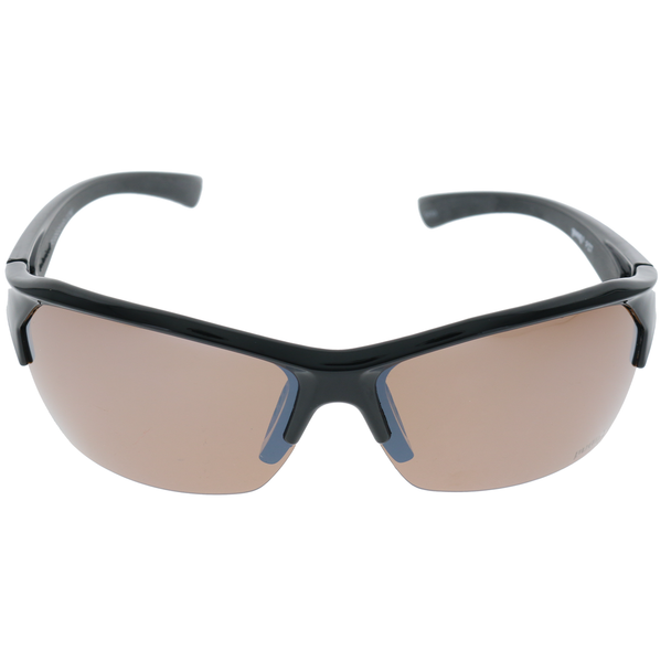 Shiny Black Black Rubber Frame Brown Mirror lens