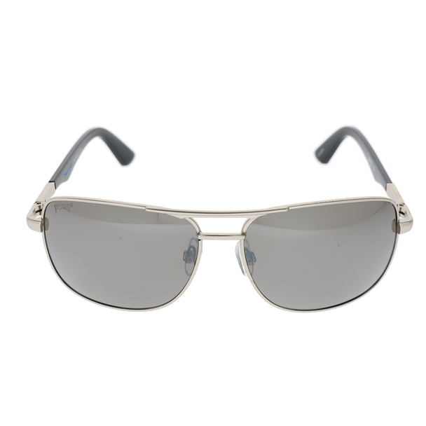 Matte Silver Frame Shiny Black Tips Blue Stamp Smoke Mirror Lens