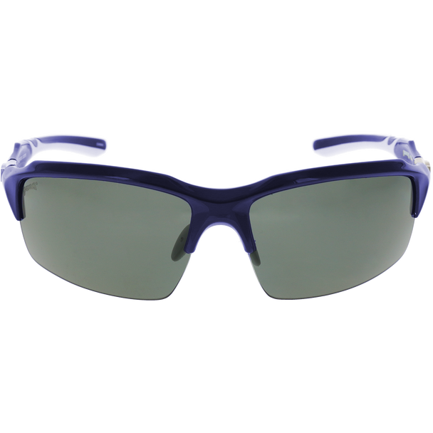 Shiny Dark Blue Frame White Rubber Smoke Lens