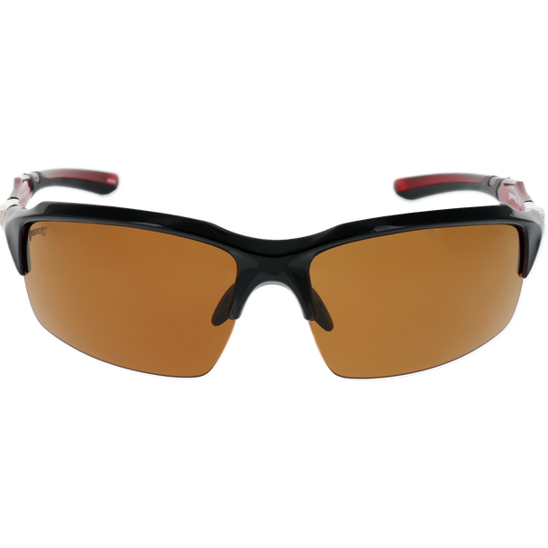 Matte Black Frame Red Rubber Brown Lens