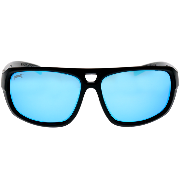 Shiny-Matte Black Frame Ice Blue Revo Lens
