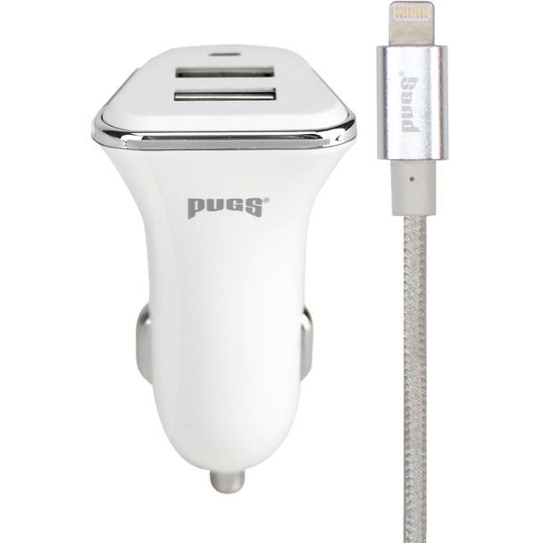 White Car Charger with Silver Lightning Cable