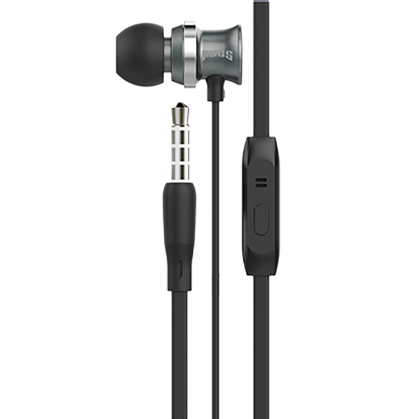 Black earbuds with inline microphone