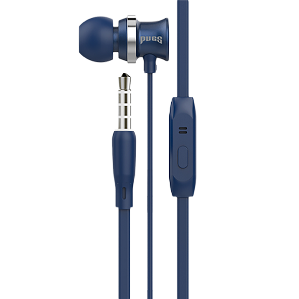 Blue earbuds with inline microphone