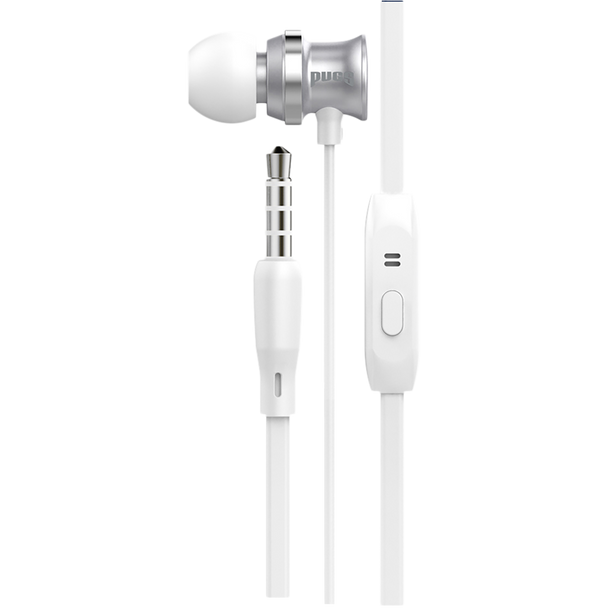 White earbuds with inline microphone