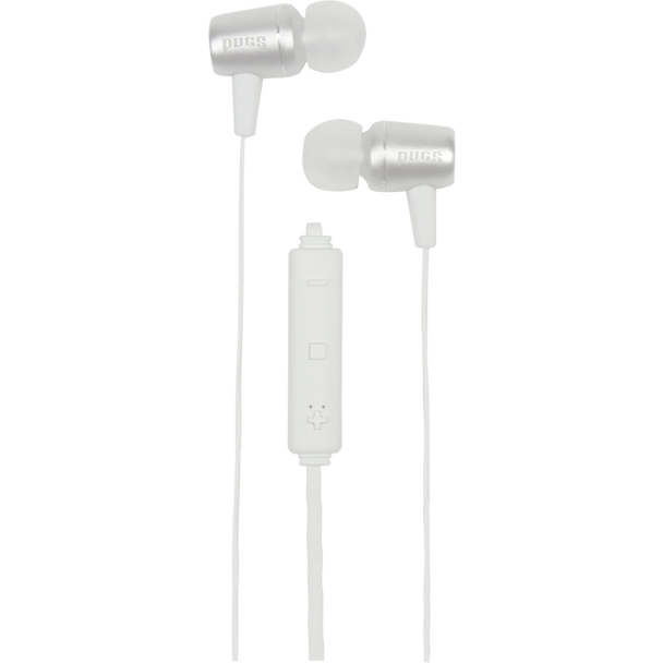 White Wireless Earbuds with inline volume control