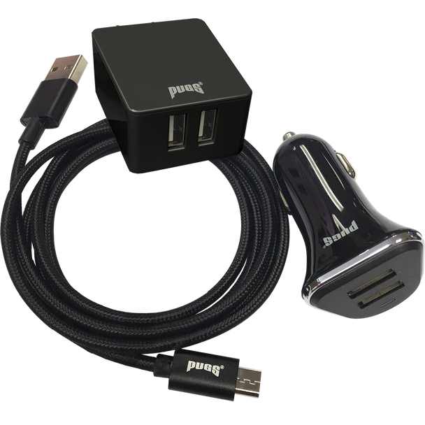 Black Wall Charger, Car Charger, and Micro Cable