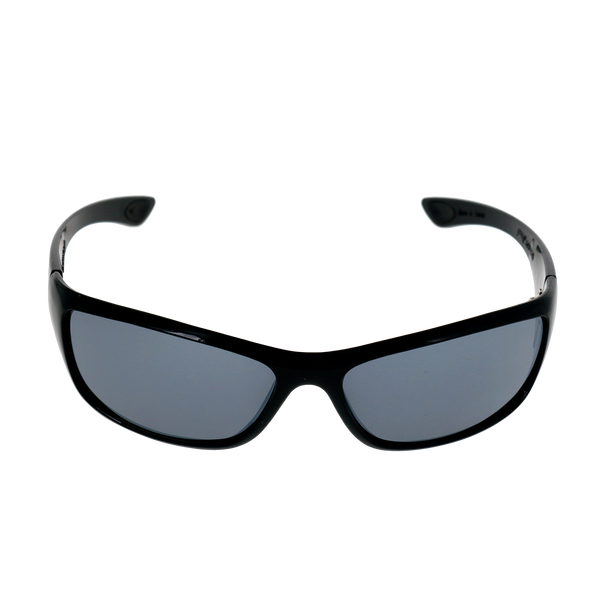 Rounded Rectangle-Shiny Black frame Smoke Mirror lens
