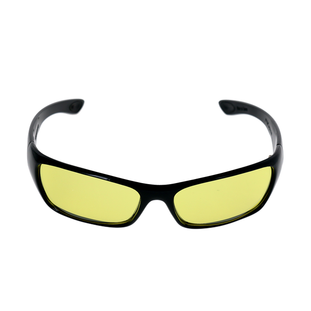 Rectangle-Shiny Black frame Yellow Mirror lens