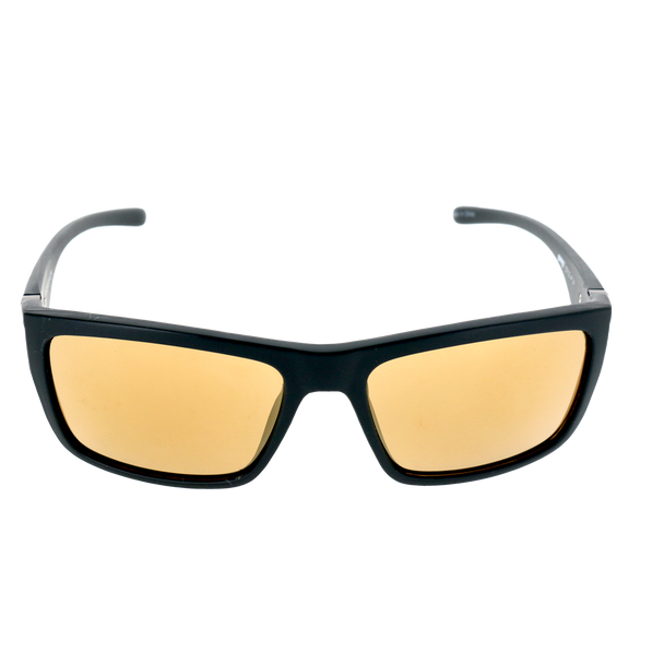 Matte Black frame w Splash temple Gold Mirror lens