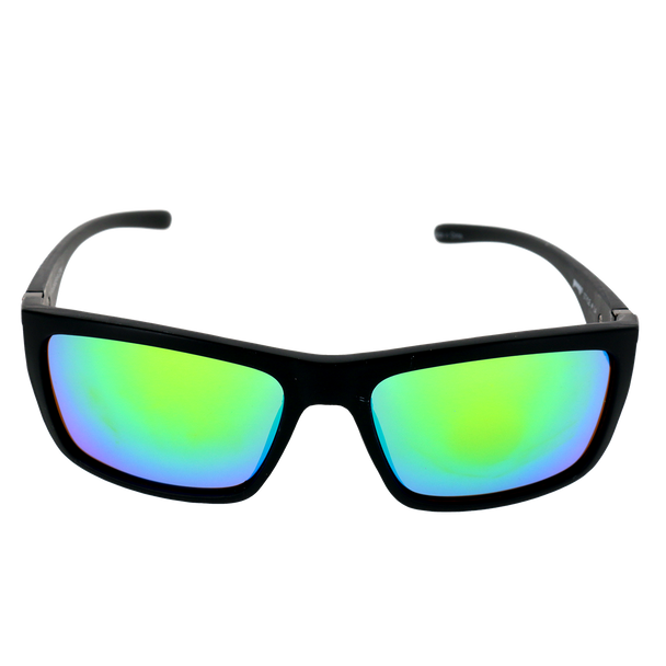 Matte Black frame w Splash temple Green Mirror lens