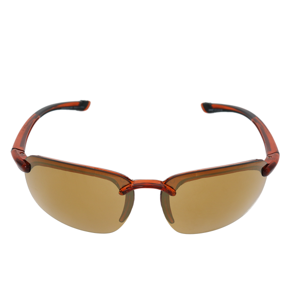 Shiny Crystal Brown Frame Gold Lens