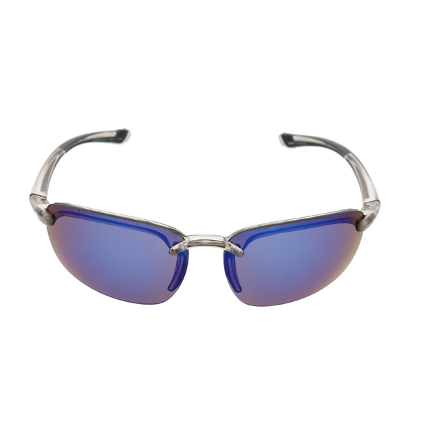 Shiny Crystal Gray Frame Blue Mirror Lens