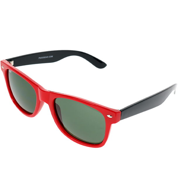 Shiny Red Single Stud Frame, G15 (Green) Lens Angled