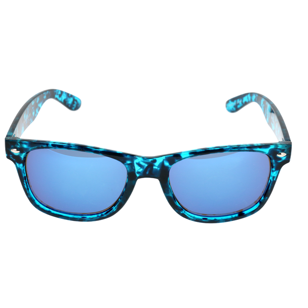 Crystal Blue and Black Tortoise Single Stud Frame, Ice Blue Mirror Lens