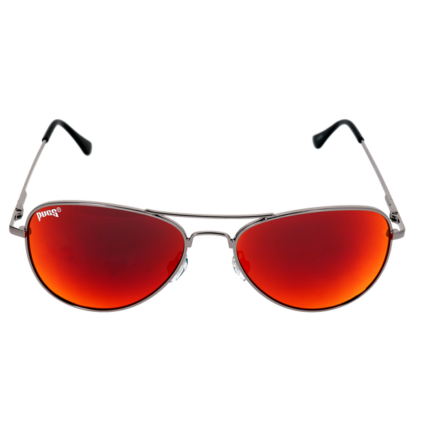 Shiny Light Gunmetal Frame Red Multi Mirror Lens