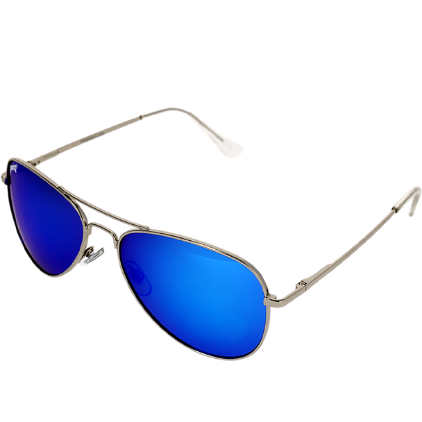 Shiny Silver Frame Blue Multi Mirror Lens
