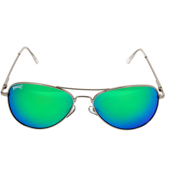 Shiny Silver Frame Green Multi Mirror Lens