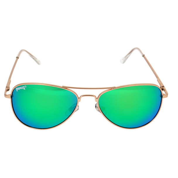 Matte Gold Frame Green Multi Mirror Lens