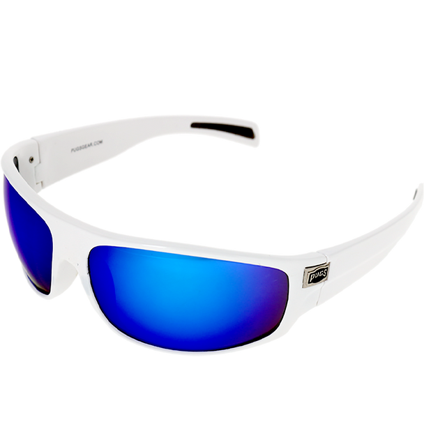 Shiny White Frame Blue Mirror Lens