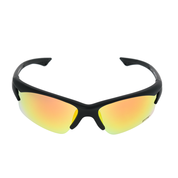 Matte Black frame Red/Yellow Mirror lens