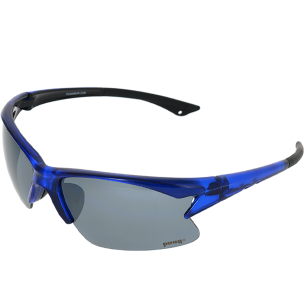Shiny Crystal Blue-Black frame Smoke Mirror lens