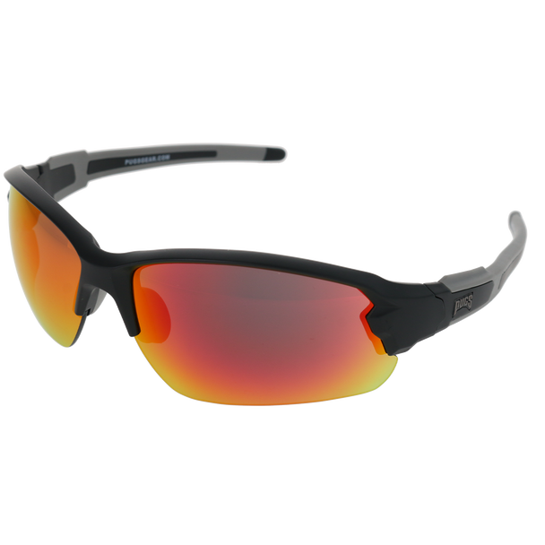 Matte Black Frame Matte Black-Grey Rubber Tips Red Multi Mirror Lens