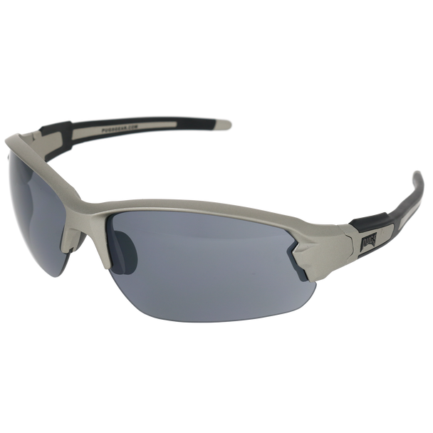 Matte Lt Gunmetal Frame Matte Lt Gunmetal-Black Rubber Tips Smoke Flash Mirror Lens