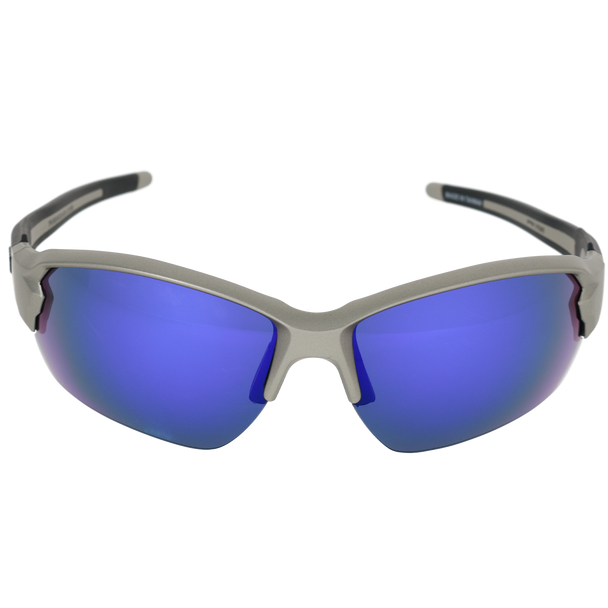 Matte Lt Gunmetal Frame Matte Lt Gunmetal-Black Rubber Tips Blue Multi Mirror Lens