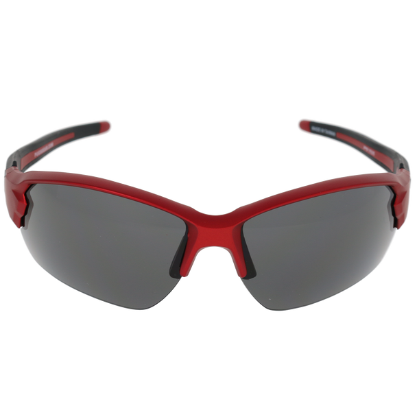 Matte Metallic Red Frame Matte Metallic Red-Black Rubber Tips Smoke Lens