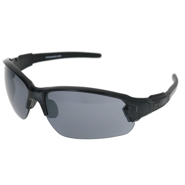Shiny Crystal Grey Frame Shiny Crystal Grey-Black Rubber Tips Smoke Flash Mirror Lens